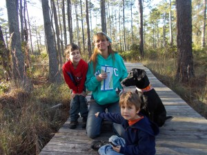 mom and boys and dog