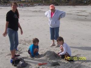 mom boys on beach