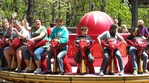 mom and big on ride