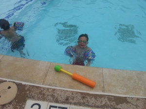 big in pool smile