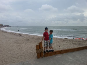 boys with beach