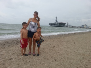 mom and boys on teh beach 2