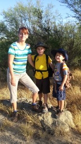mom and boys ready to hike 8.25.13