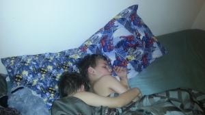 boys cuddled